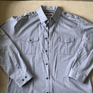 Fitted gray men's dress shirt